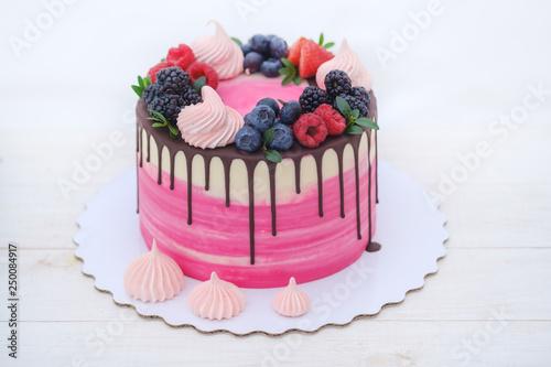 Beautiful Homemade Birthday Cake With Cheese Cream And Natural Berries On White Background