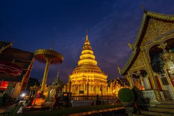 Wall Mural - Wat Phra That Hariphunchai temple in Lamphun, Thailand.
