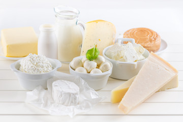 Variation of dairy products on white