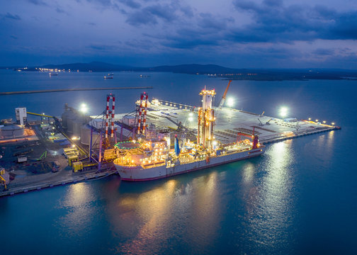 Noble Globetrotter 2, drill ship.With this ship they will seek oil in the Black Sea.Aerial View from Drone. - Image