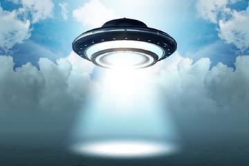 Illustration of flying saucer emitting light - 3d rendering