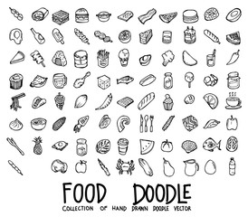 Set of food icons Drawing illustration Hand drawn doodle Sketch line vector eps10