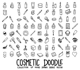 Fototapeta Set of cosmetic icons Drawing illustration Hand drawn doodle Sketch line vector eps10 obraz