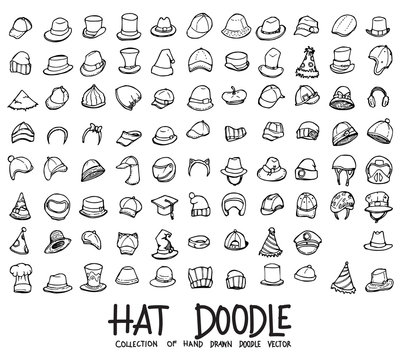Set of hat icons Drawing illustration Hand drawn doodle Sketch line vector eps10