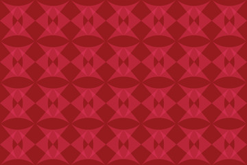 Seamless, abstract background pattern made with triangular geometric shapes in tones of red color. Decorative vector art.
