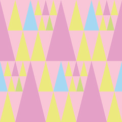 Cheerful pink, blue and green triangles of different sizes on soft pink background. Seamless vector pattern with a summer vibe. Perfect for stationery, parties, textiles, home decor, giftwrapping