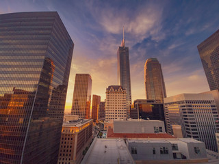 Fotobehang - City of Los Angeles at sunset, downtown buildings skyline. Wide angle.