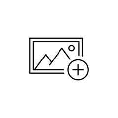 add album picture outline icon. Signs and symbols can be used for web, logo, mobile app, UI, UX