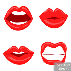 Lips. Makeup set. Bright. Cartoon style. For your design.