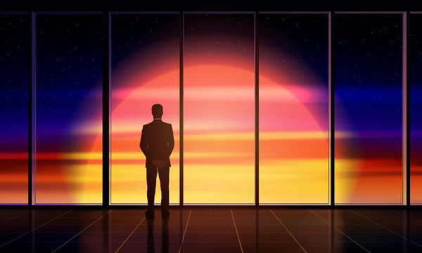 Businessman standing by the window looking out. Man looks into beautiful space with Sun outside the window. Concept of space exploration, business, innovation. Vector illustration