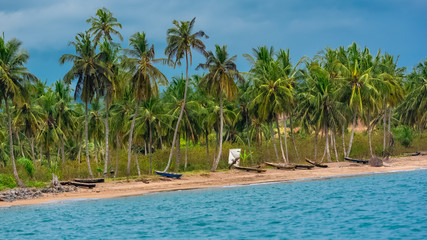 Sao Tome, traditional wooden dugouts on the shore, with beautiful palm trees in background