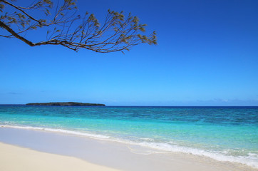 Sandy beach at Gee island in Ouvea lagoon, Loyalty Islands, New Caledonia