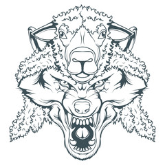 wolf in sheep's clothing, vector graphic to design
