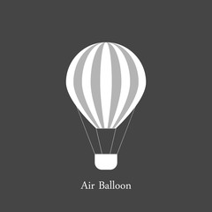 Hot air balloon with grey and white stripes. Summer journey by air transport. Isolated on grey.