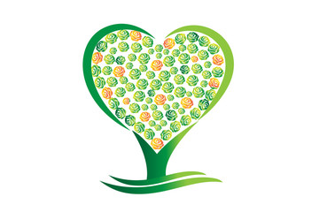 Green tree heart abstract vector