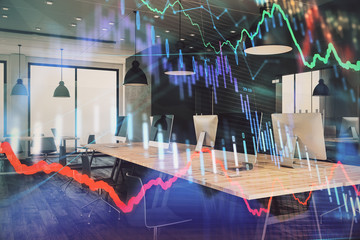 Double exposure of stock market chart and office desktop on background. financial strategy concept. 3d render