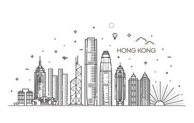 Hong Kong skyline, vector illustration in linear style Fotomurales