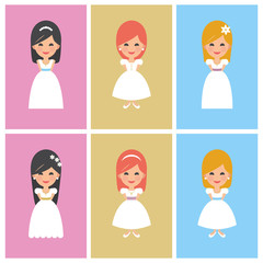 Set of First Communion girls. Golden, pink and blue background. Vector