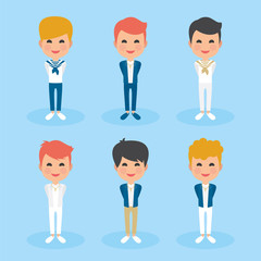 Set of First Communion Boys with different hairs and dresses. Blue background. Vector