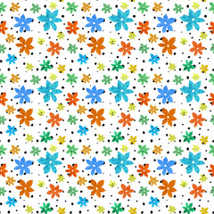 Abstract seamless pattern in spring colors with flowers and circles