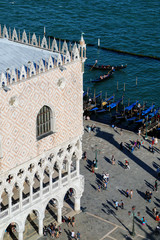 View of Palazzo Ducale and Grand Canal from St Mark's Campanile in Venice, Italy.