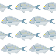 Vector pattern with bream fish, Esparus aurata. Advertising, menu or packaging cool design elements.
