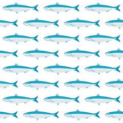 Vector pattern with sardines, Sardina pilchardus. Advertising, menu or packaging cool design elements.