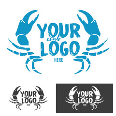 Crab silhouette seafood shop label, design elements, emblem template