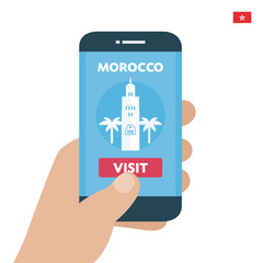 Buy ticket. Morocco Travel. Payment smartphone concept