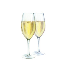 Two champagne glasses watercolor illustration, isolated on white background