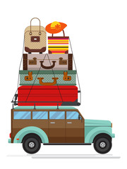 Isolated modern car with big luggage on the roof. Flat design.