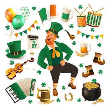 Set of illustrations for celebrating St. Patricks Day. Leprechaun, hat, pot of gold, clover and flag.