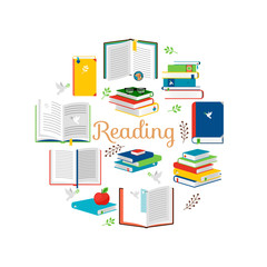 Reading concept with isometric style books vector icons. Illustration of encyclopedia and literature for read