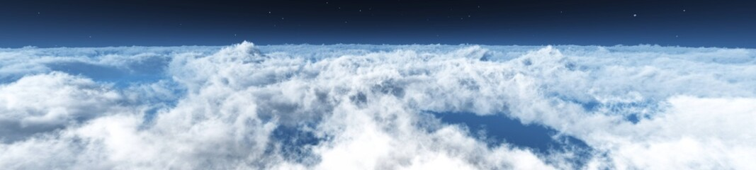 Above the clouds, panorama of clouds, flying in the clouds