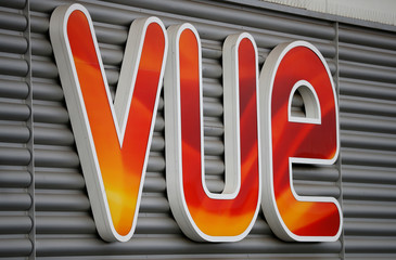 Signage is seen outside a Vue cinema in Altrincham