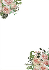 Decorative golden rectangular frame with eucalyptus, fern and boxwood branches, brunia, pink rose. For wedding invitations, vignettes, postcards, posters, documents, diplomas