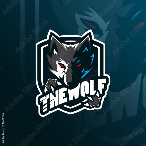 wolf vector mascot logo design with modern illustration