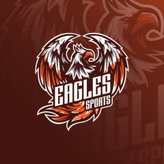 eagle vector mascot logo design with modern illustration concept style for badge, emblem and tshirt printing. angry eagle illustration for sport and esport team.