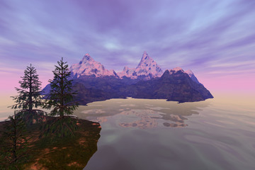 Snowy mountain, a natural landscape, coniferous trees, reflection on water and clouds in the sky.