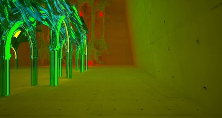 Abstract  Concrete Futuristic Sci-Fi Gothic interior With Green And Red Glowing Neon Tubes . 3D illustration and rendering.