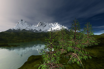 Snowy mountain, an alpine landscape, coniferous trees, reflection on water and clouds in the sky.
