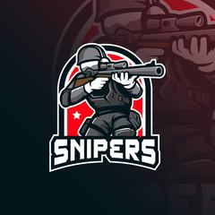 sniper vector mascot logo design with modern illustration concept style for badge, emblem and tshirt printing. sniper illustration for sport team.