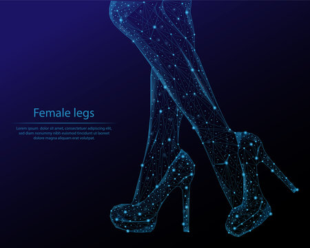 Abstract image female leg in the form of constellations and starry sky, consisting of points and lines.