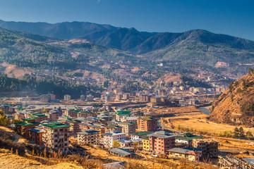 View of Thimphu city, the capital of Bhutan, in Himalaya mountains