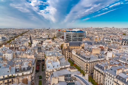 Paris, France, aerial view of ancient buildings in the center, with the Centre Pompidou and the Saint-Merri church, beautiful city