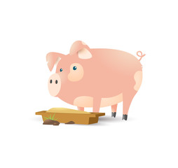 Pig in cartoon style on pink background.