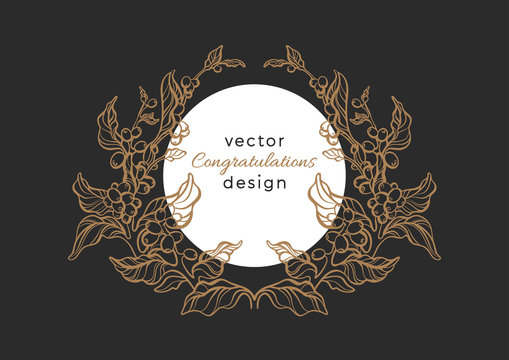 Vector nature emblem. Luxury rococo pattern, elegance frame