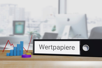 Anleihen. Ordner beschriftet mit dem Wort Wertpapiere liegt neben Diagrammen auf einem Schreibtisch. Büro im Hintergrund.