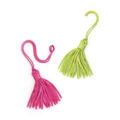 Pink and green silk tassels isolated on white background for creating graphic concepts