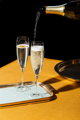 Flutes filled with sparkling Prosecco, in pop contemporary style. Prosecco is an italian white sparkling wine cultivated and produced in Valdobbiadene-Conegliano area.